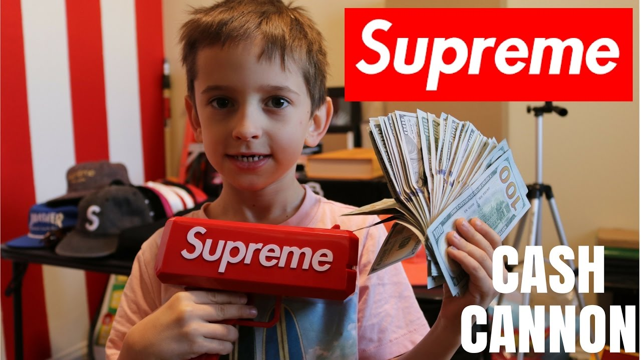Picture of a kid with a cash cannon from Supreme