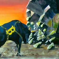Cryptocurrency Merchants: Ludvig Art. Painting of Bull