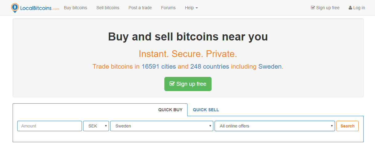 LocalBitcoins Purchase Interface