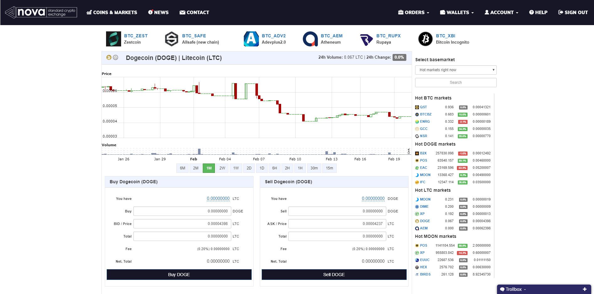 Nova Exchange Trading View