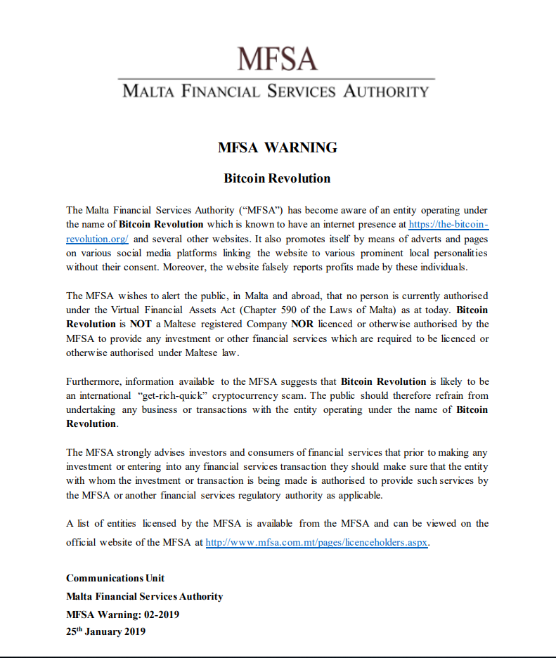 Bitcoin Autotrading Warning by the MFSA