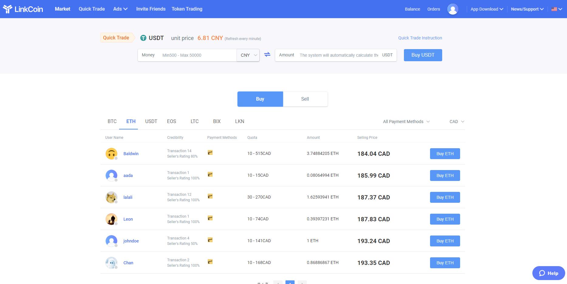 LinkCoin Purchase Interface