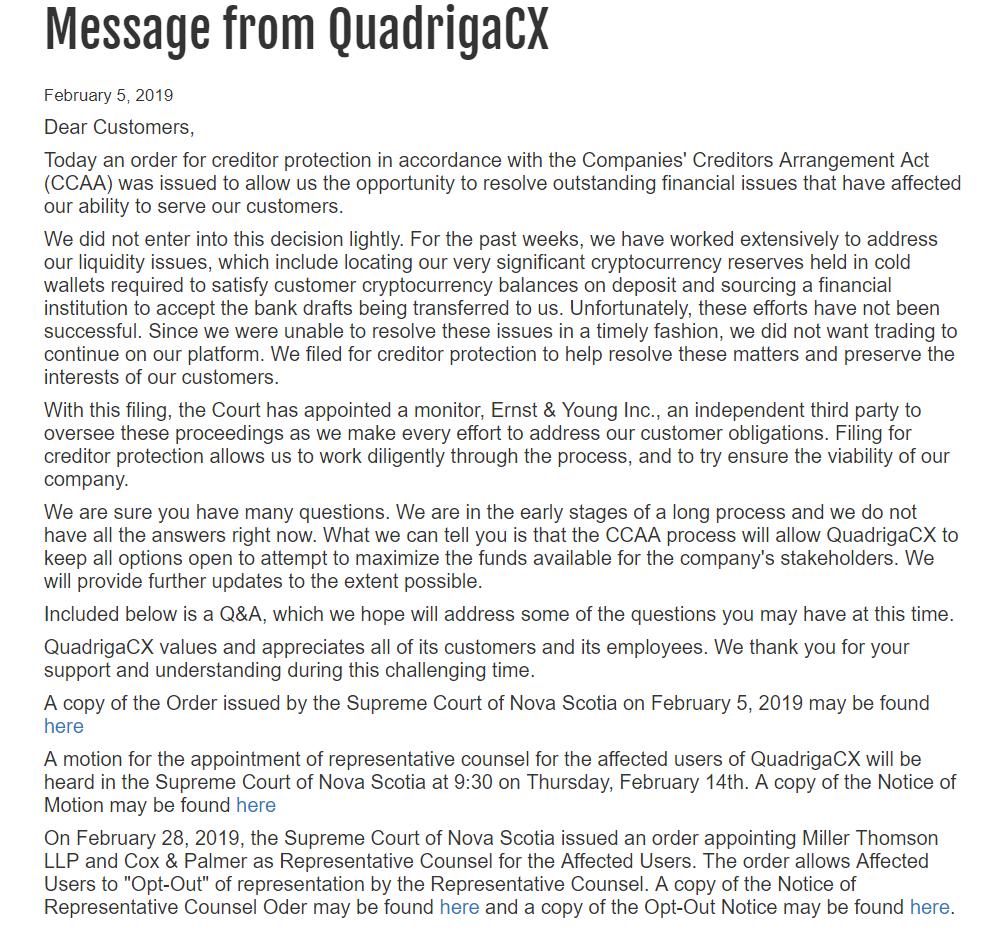 QuadrigaCX Announcement