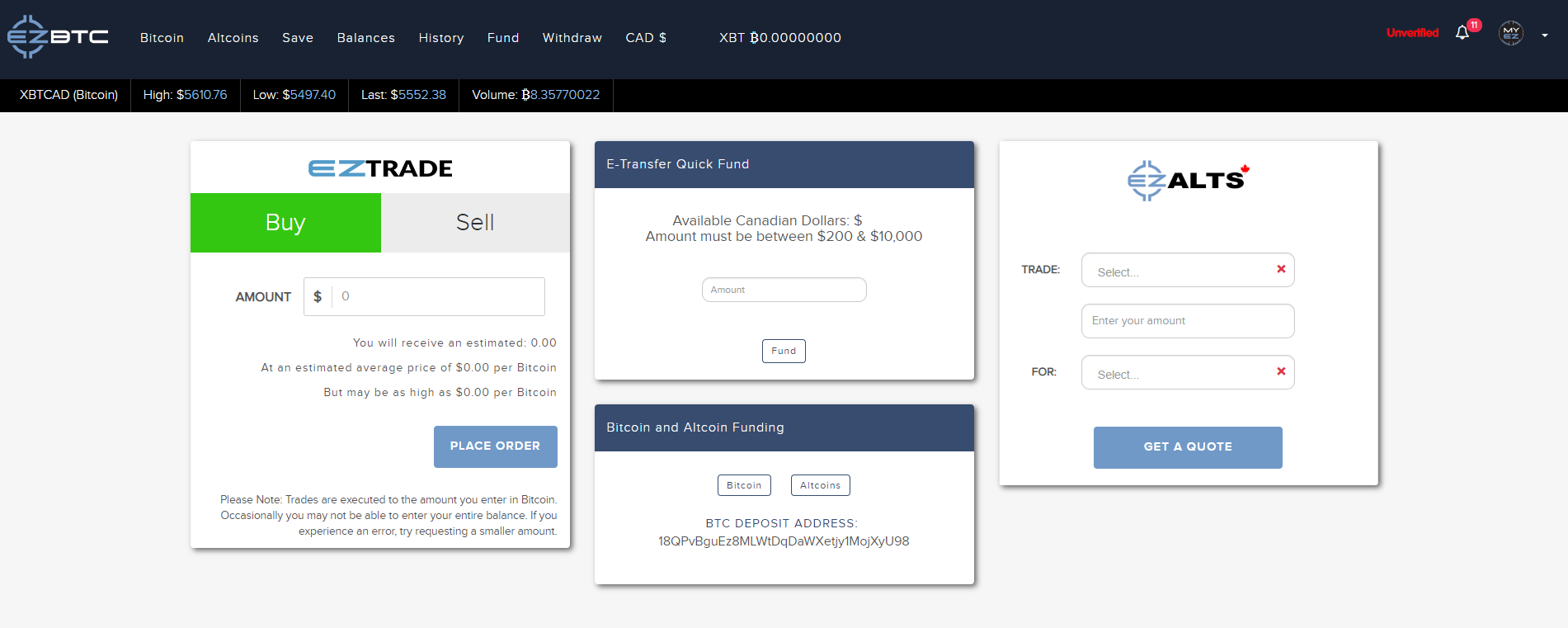 ezBtc Purchase Interface