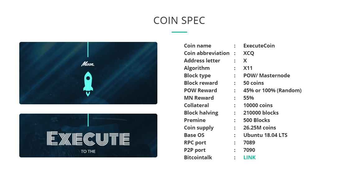 ExecuteCoin Specifications