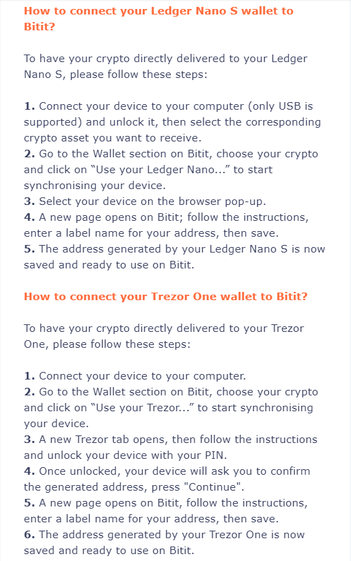 Connecting Wallets to Bitit