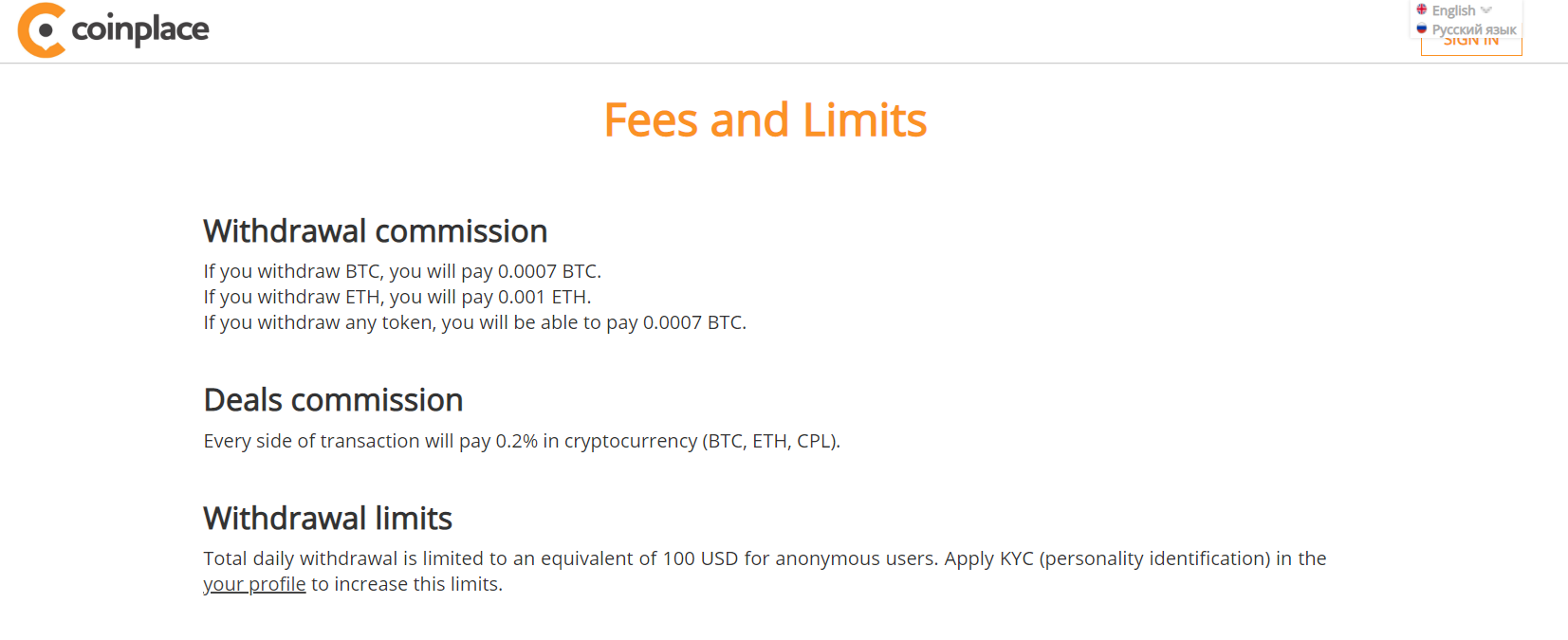 Coinplace Fees