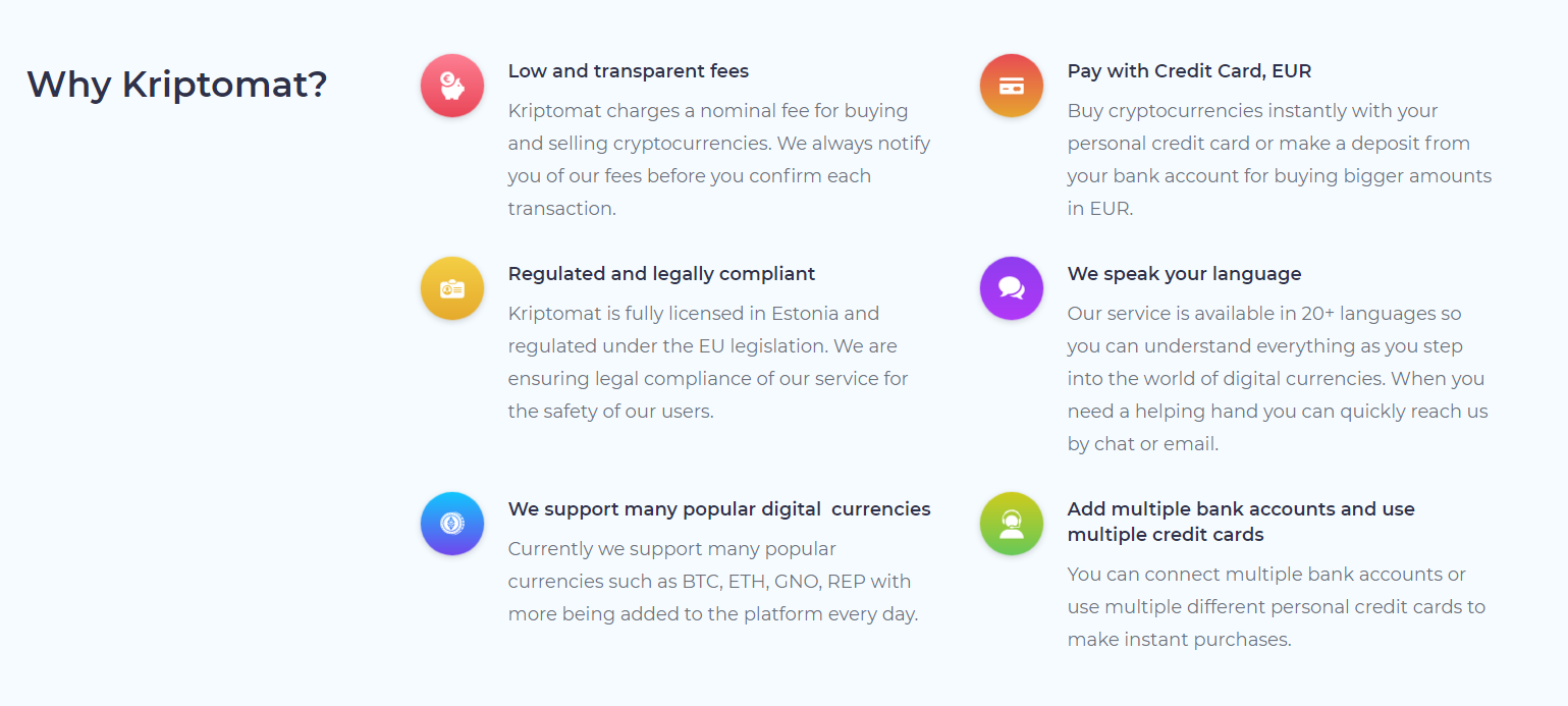 Kriptomat Advantages
