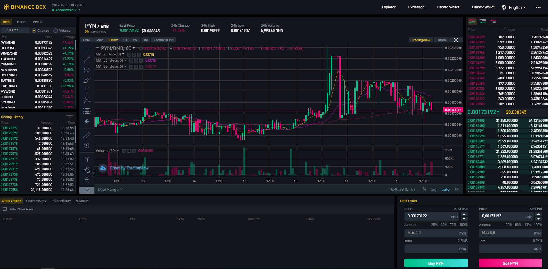 Binance DEX Trading View