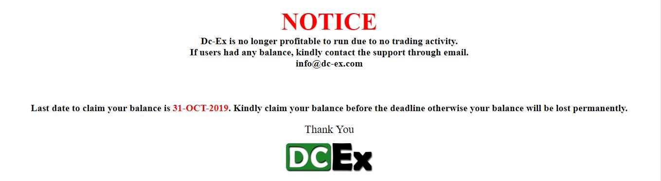 DC-Ex Closing Notice