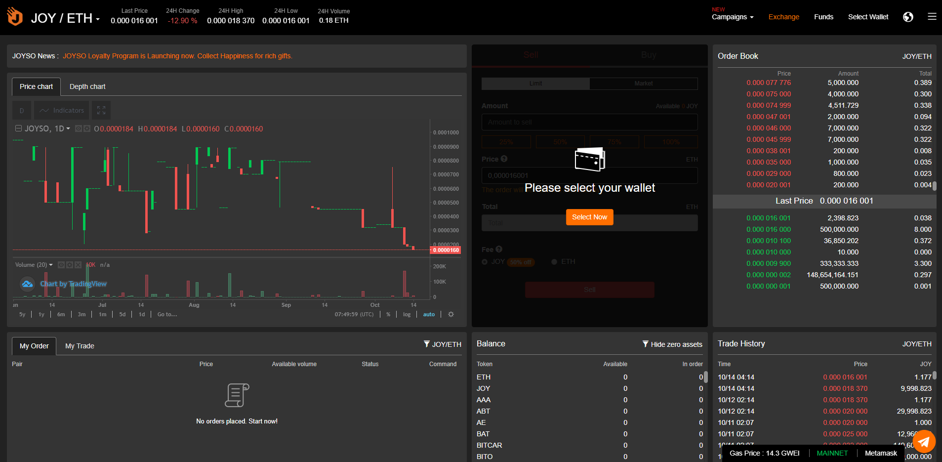 Joyso Trading View