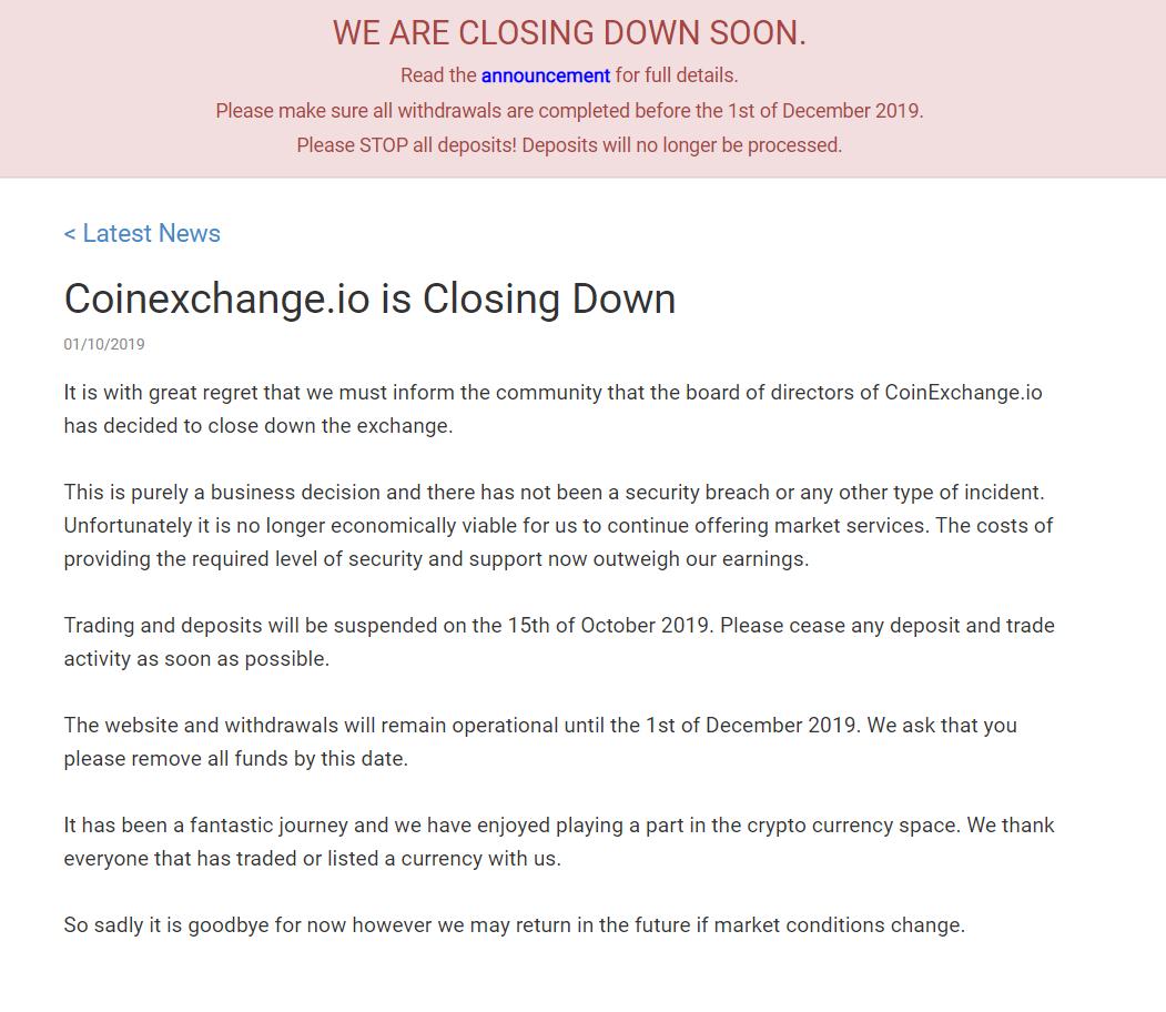 Coinexchange.io Closing Down