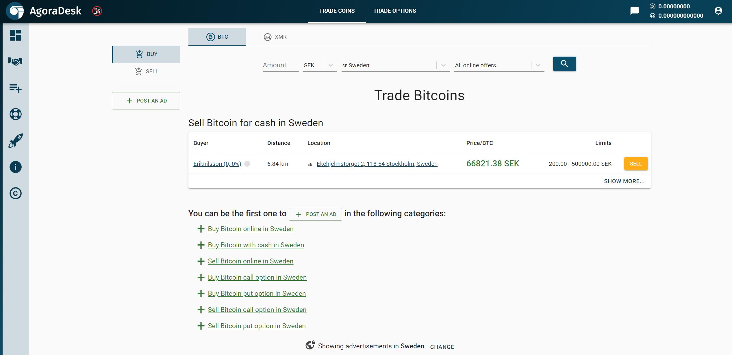 AgoraDesk Trading View