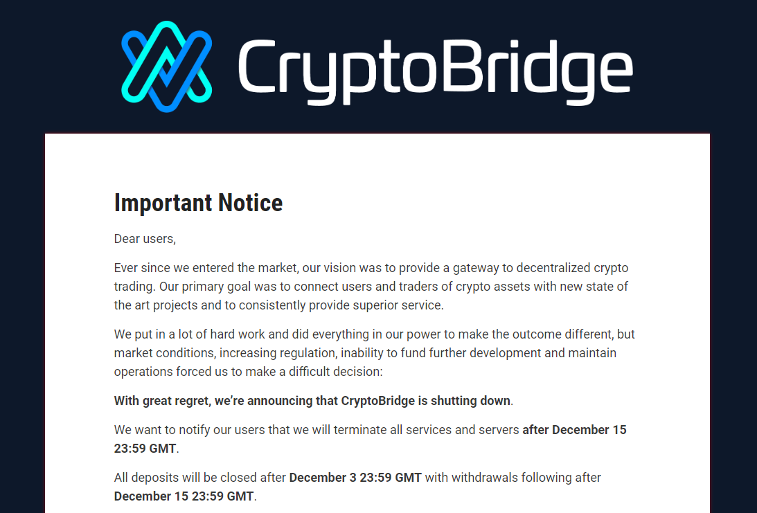 Cryptobridge Announcement