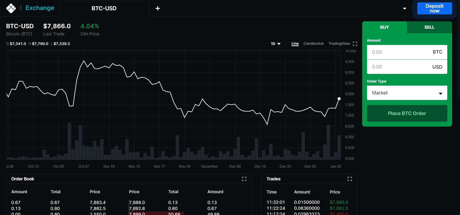 Blockchain Exchange Trading View